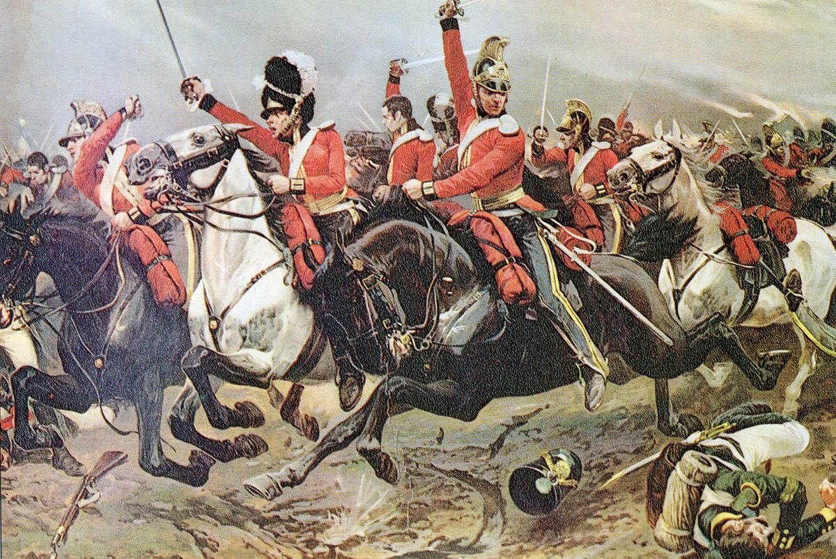 Ponsonby's Union Brigade (troopers from the 6th Inniskillings, Scots Greys and Royal Dragoons) charging at the Battle of Waterloo on 18th June 1815
