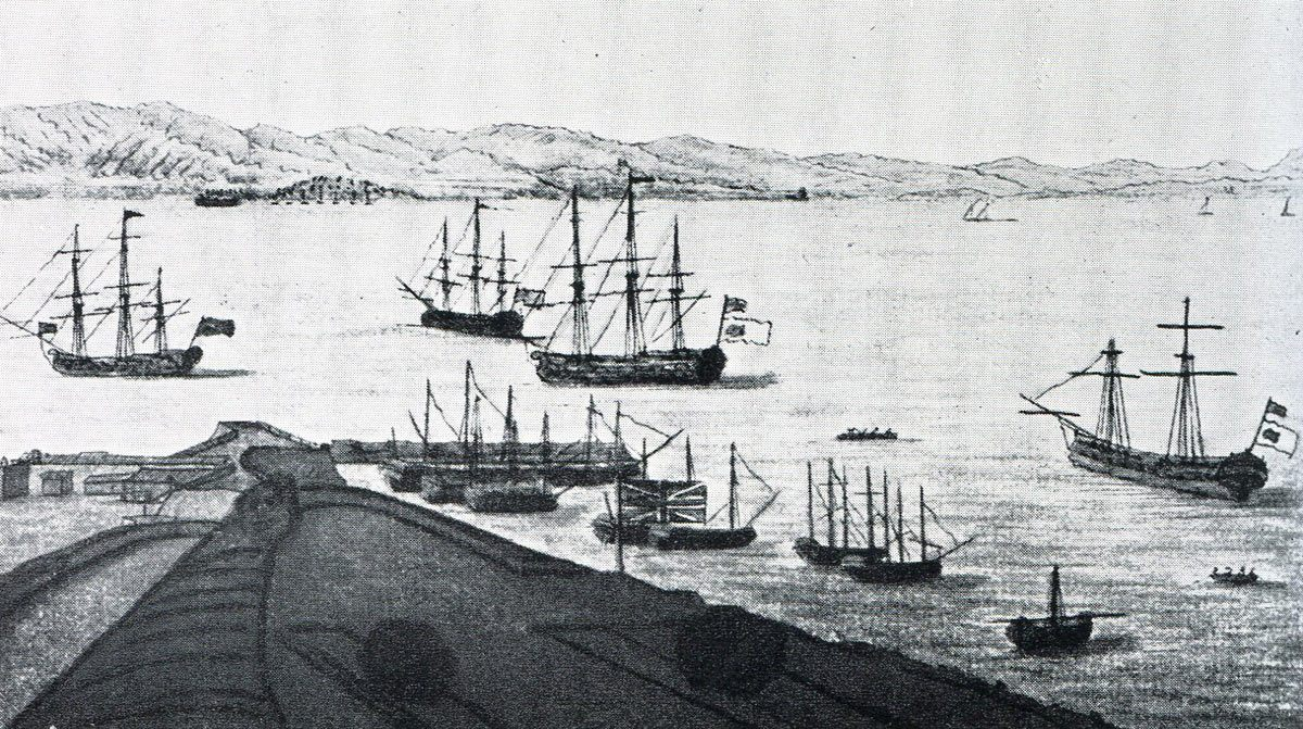 Admiral Rodney's ships off the New Mole in Gibraltar: the Great Siege of Gibraltar from 1779 to 1783 during the American Revolutionary War: the ships on the right and in the centre are captured Spanish ships with British colours over Spanish colours: eye witness sketch by Captain John Spilsbury
