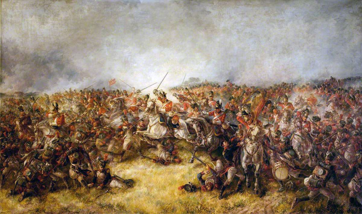 Scots Greys charging at the Battle of Waterloo on 18th June 1815: picture by Thomas Seccombe