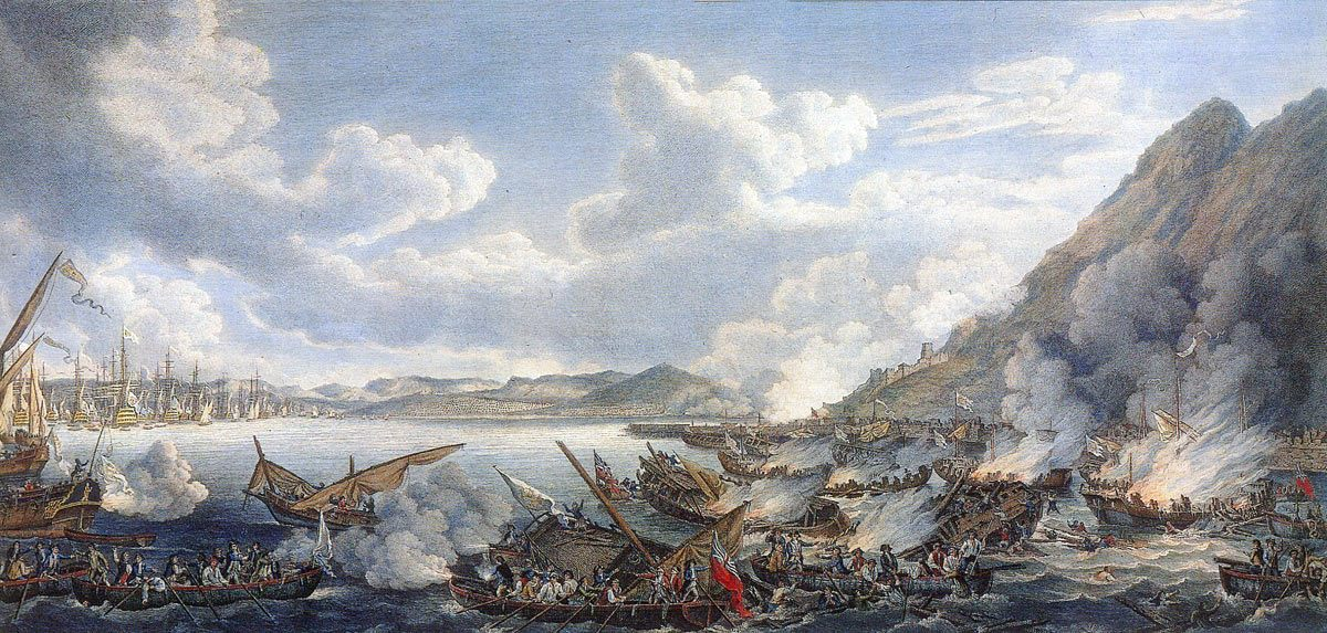 Bombardment from the Spanish Battering Ships on 13th September 1782: the Great Siege of Gibraltar from 1779 to 1783 during the American Revolutionary War