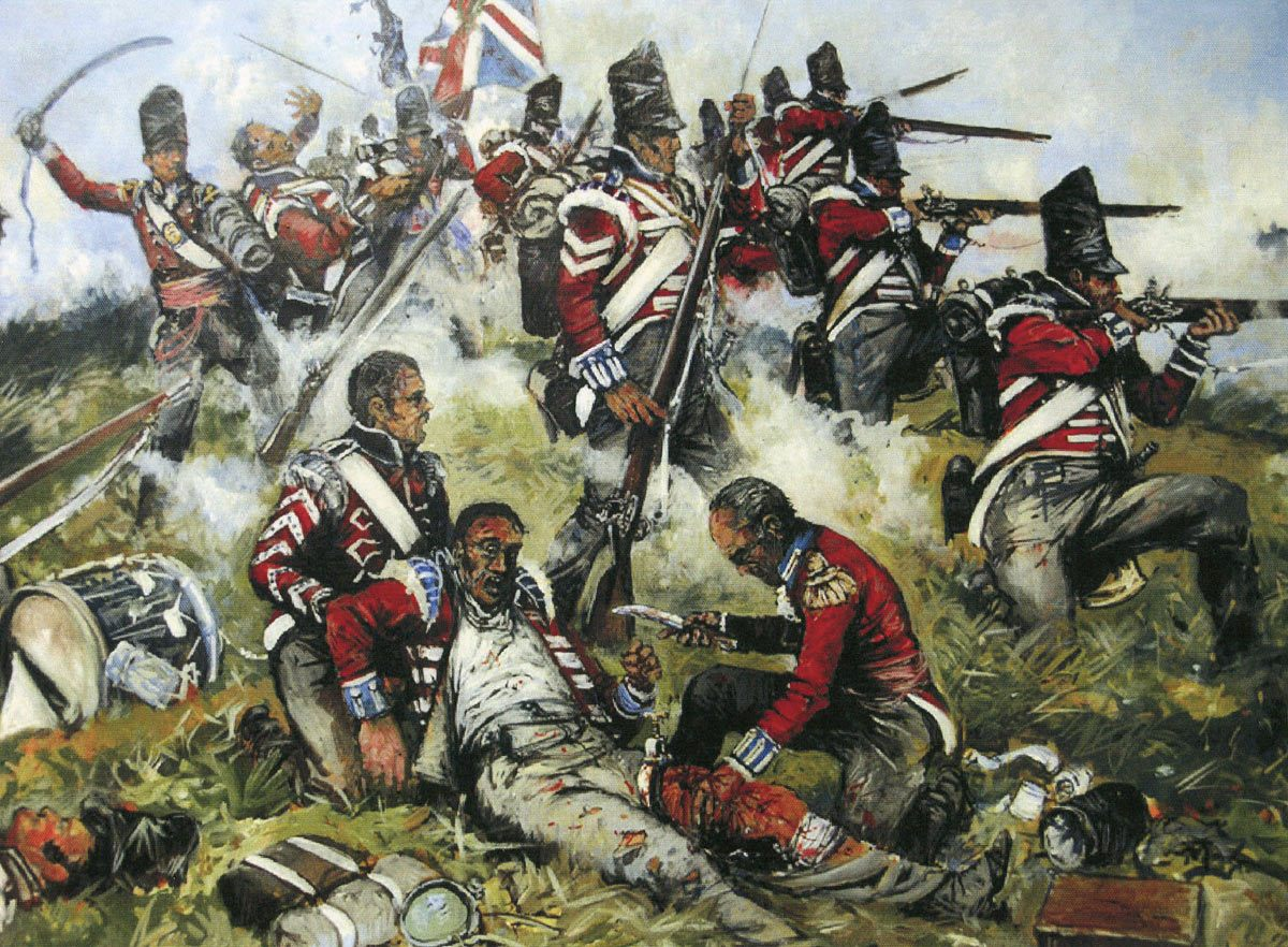 Surgeon Francis Burton of the 4th King's Own Regiment amputating in the field at the Battle of Waterloo on 18th June 1815: picture by Jason Askew