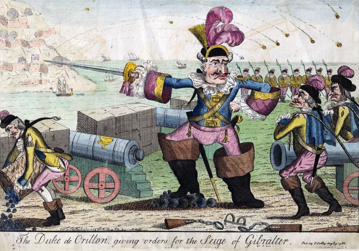 Duc de Crillon giving orders for the attack on Gibraltar: the Great Siege of Gibraltar from 1779 to 1783 during the American Revolutionary War: a British image