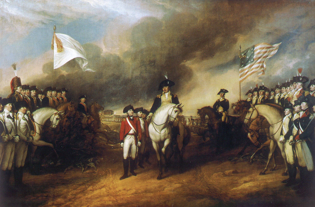 Surrender of the British army at the Battle of Yorktown 28th September to 19th October 1781 in the American Revolutionary War: picture by John Trumbull