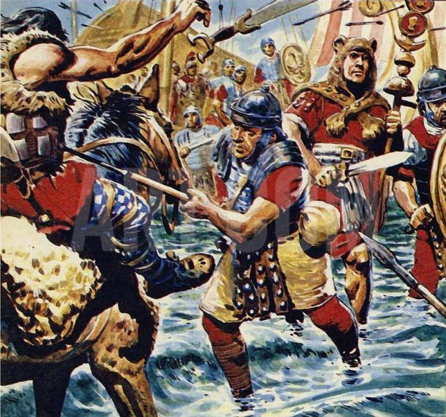 Roman legionaries crossing the River Medway: Battle of Medway June 43 AD in the Roman Invasion of Britain: picture by Cecil Doughty