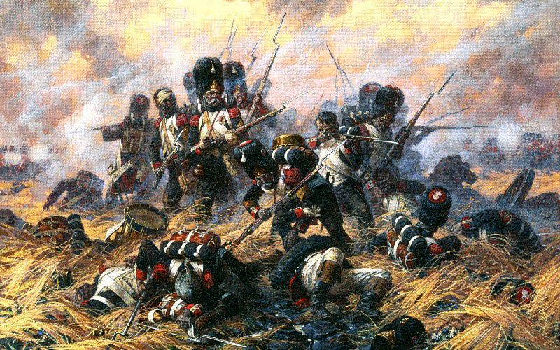 Last stand of the French Imperial Guard at the Battle of Waterloo on 18th June 1815