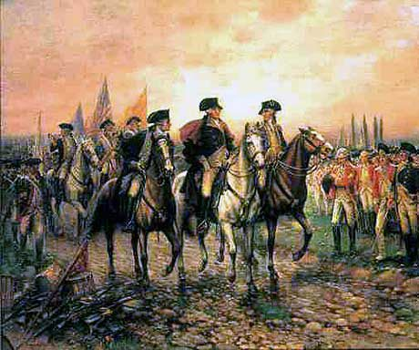 General George Washington reviews the captured British army at Yorktown on 19th October 1781 in the American Revolutionary War