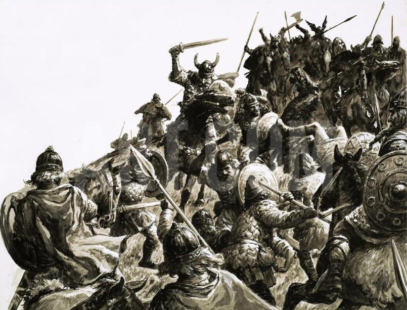 Vikings attack the Anglo-Saxon positions at the Battle of Ashdown 8th January 871 AD in the Danish Wars: picture by Cecil Doughty