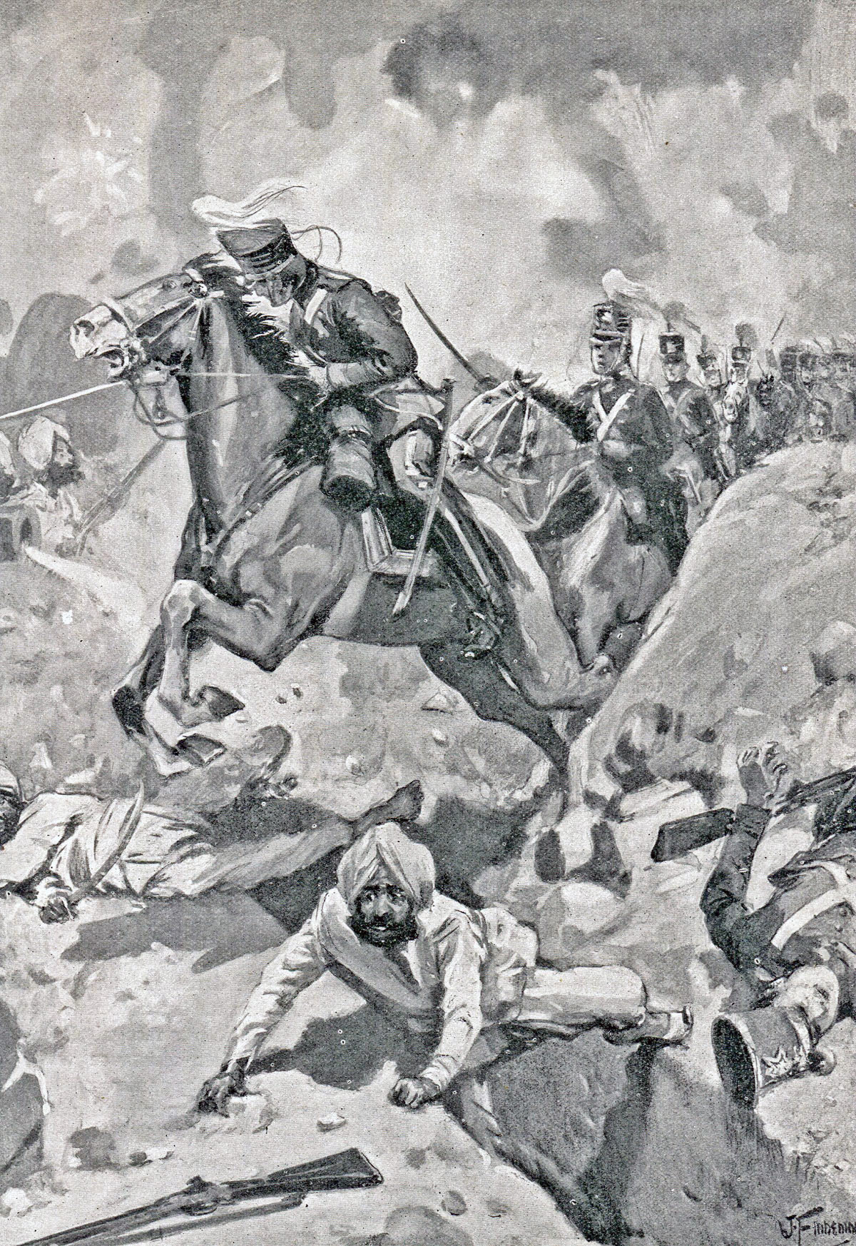 Sir Joseph Thackwell leads 3rd King's Light Dragoons through the Sikh rampart at the Battle of Sobraon on 10th February 1846 during the First Sikh War