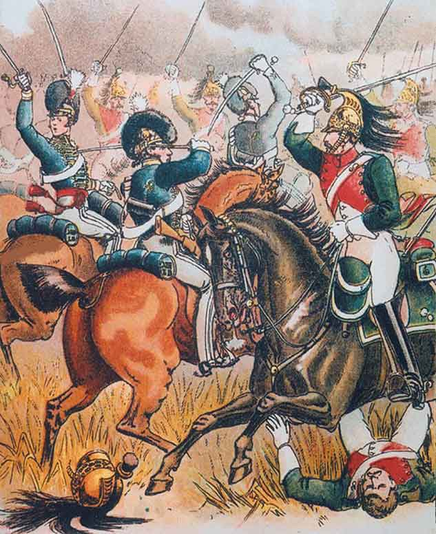 British 13th Light Dragoons charging the French 26th Dragoons at the Battle of Campo Maior on 25th March 1811 in the Peninsular War