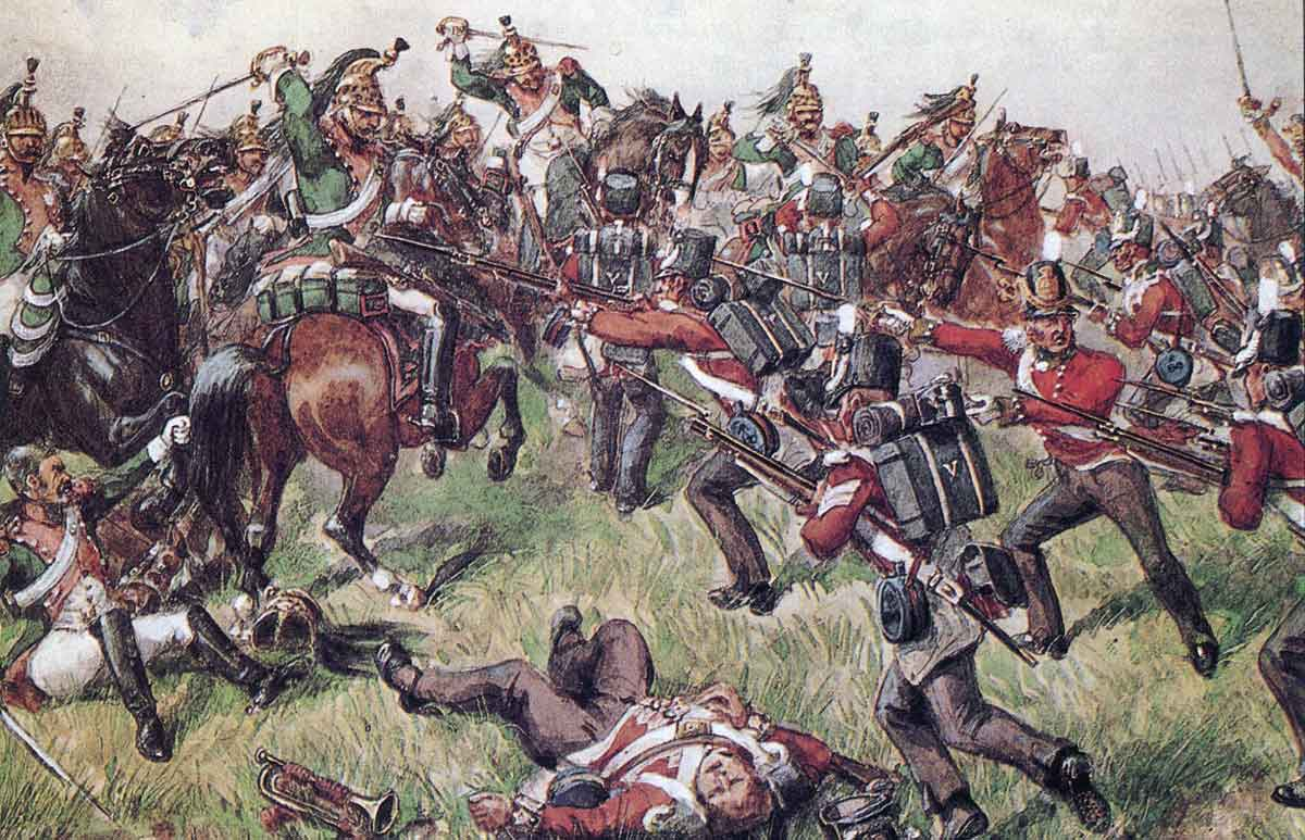 5th (Northumberland) Regiment of Foot attacking the French Cavalry at the Battle of El Bodon on 25th September 1811 in the Peninsular War