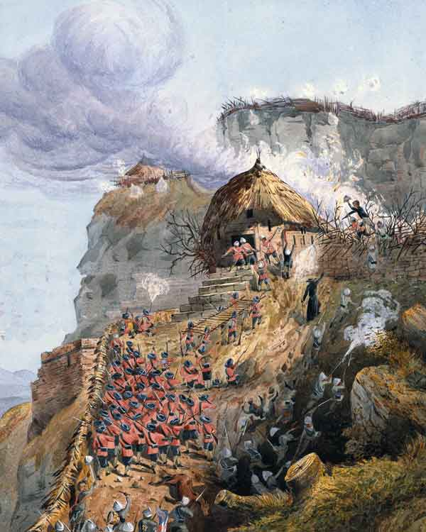 Assault on the Kukitber Gate at the Battle of Magdala on 13th April 1868 in the Abyssinian War