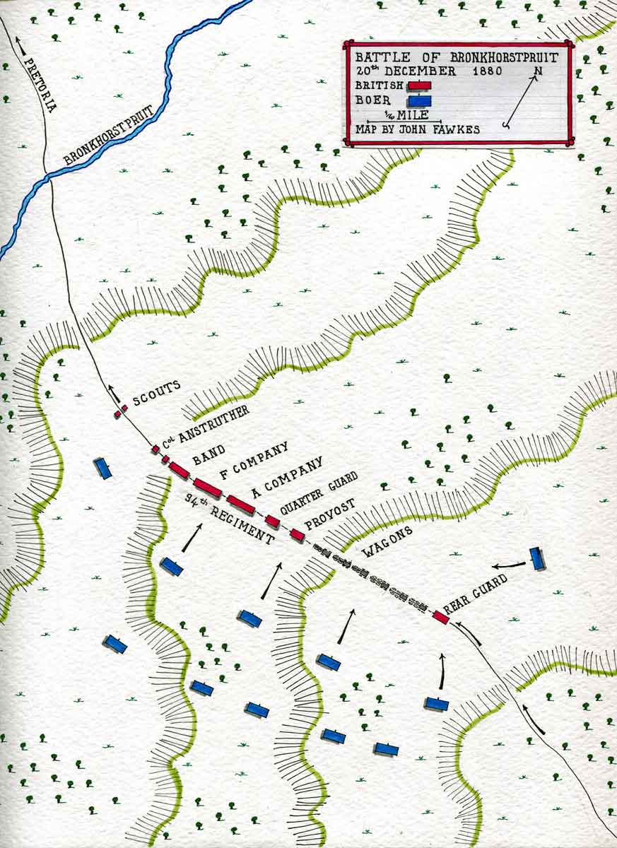 Map of the Action at Bronkhorstpruit on 20th December 1880: map by John Fawkes