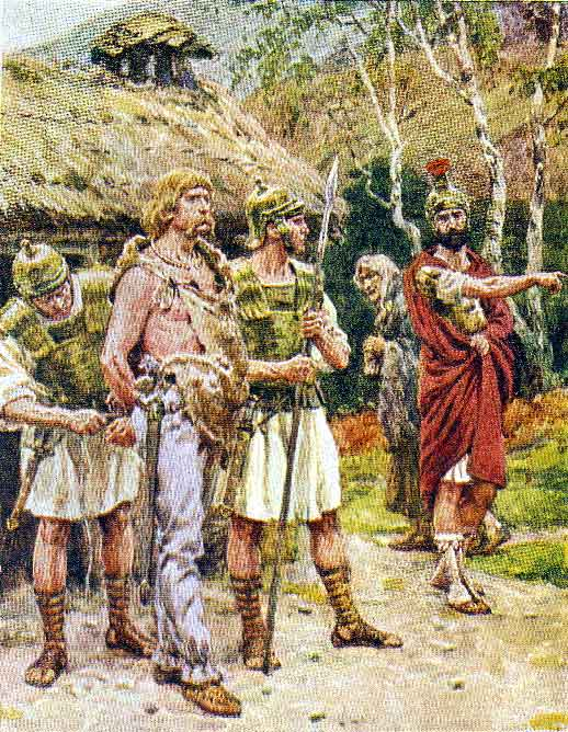 Capture of Caratacus by the Romans: Battle of Medway on 1st June 43 AD in the Roman Invasion of Britain