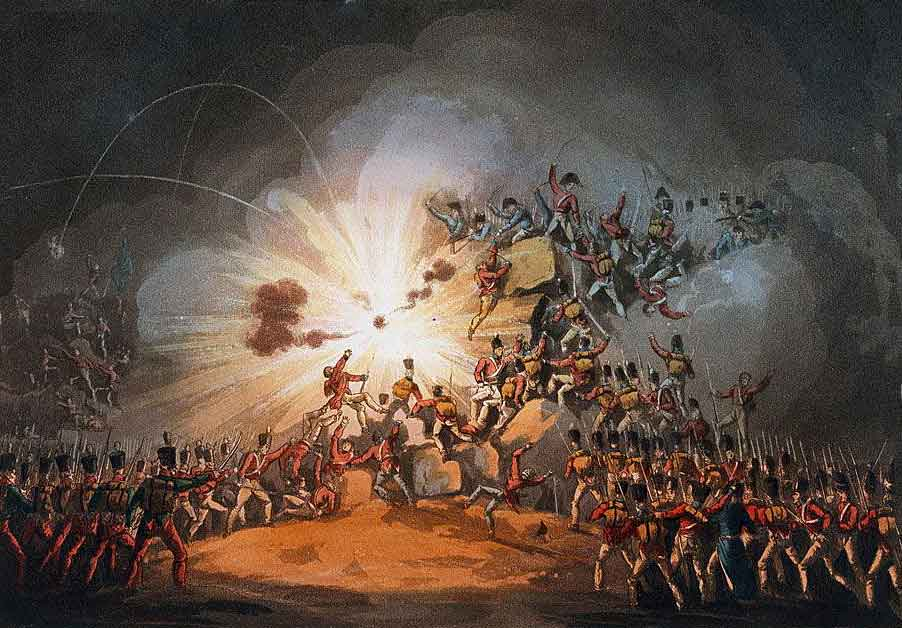 Explosion of the French magazine in the Main Breach, during the Storming of Ciudad Rodrigo on 19th January 1812 in the Peninsular War