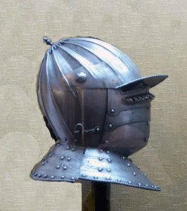 Helmet in the Wallace Collection: First Battle of St Albans, fought on 22nd May 1455 in the Wars of the Roses