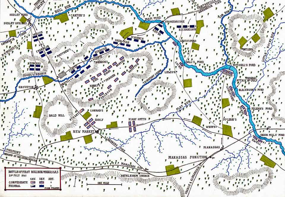 Map of the Battle of Bull Run fought on 18th to 21st July 1861 in the American Civil War: map by John Fawkes