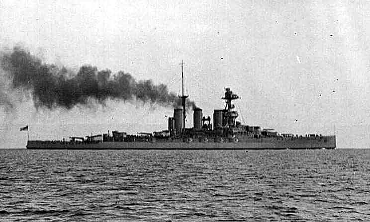 HMS Tiger one of Admiral Beatty's battle cruisers at the Battle of Dogger Bank on 24th January 1915 in the First World War