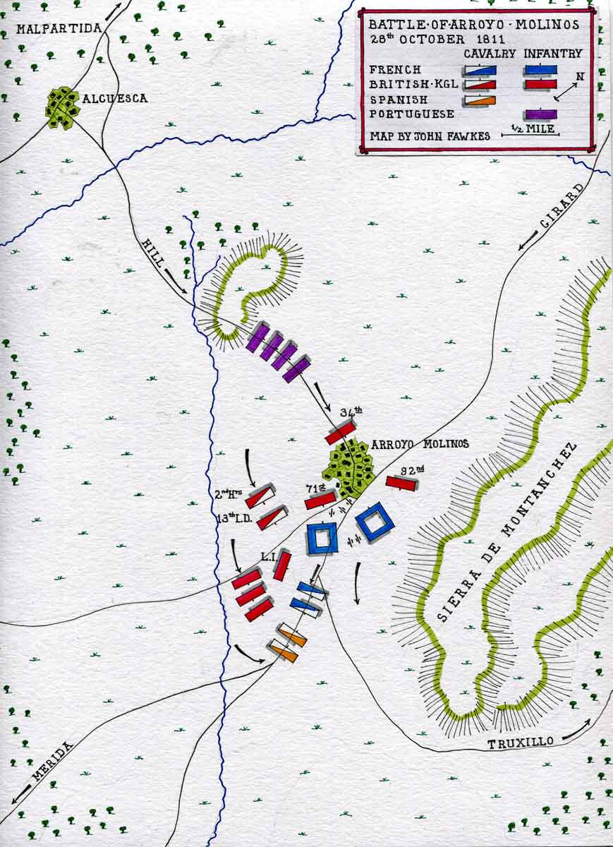 Map of the Battle of Arroyo Molinos on 28th October 1811 in the Peninsular War: map by John Fawkes