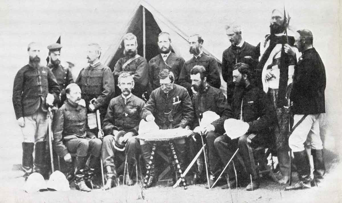 Sir Robert Napier and his staff: Battle of Magdala on 13th April 1868 in the Abyssinian War