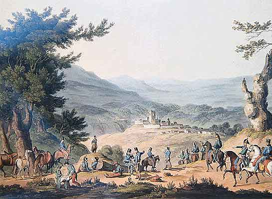 Battle of Sabugal on 3rd April 1811 in the Peninsular War: picture by JC Turner