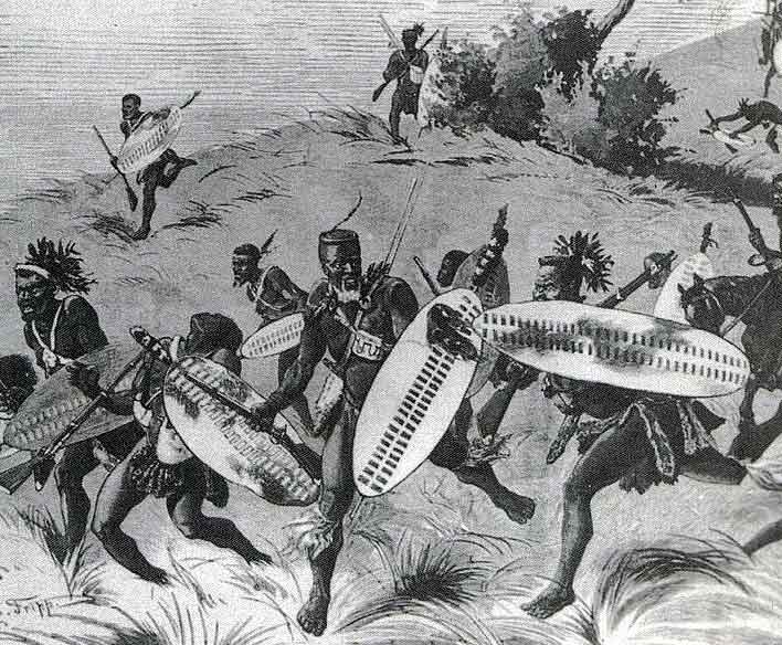 Zulus attacking at the Intombi River Disaster on 12th March 1879 in the Zulu War: Battle of Khambula on 29th March 1879 in the Zulu War