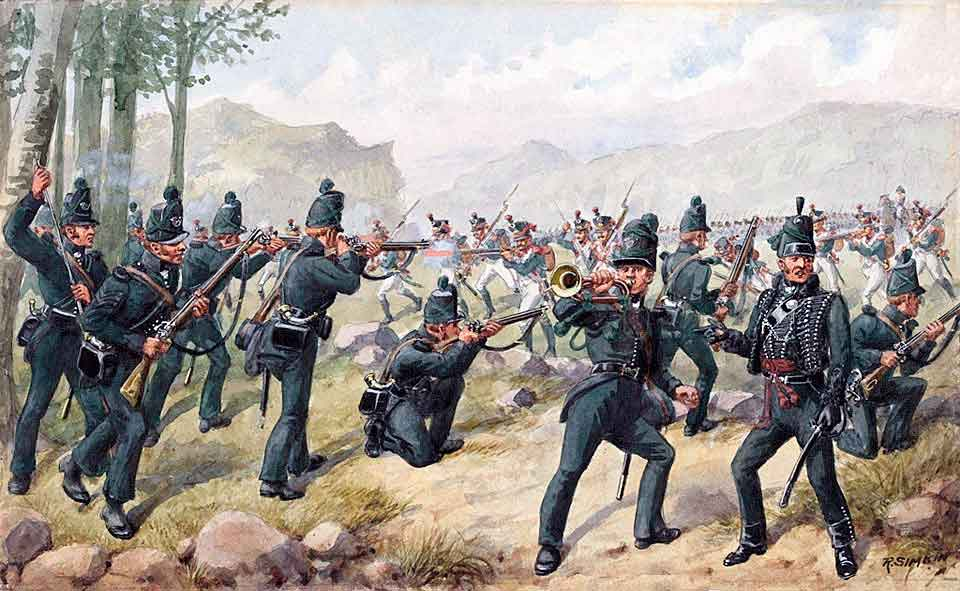 95th Rifles at the Battle of Sabugal on 3rd April 1811 in the Peninsular War: picture by Richard Simkin