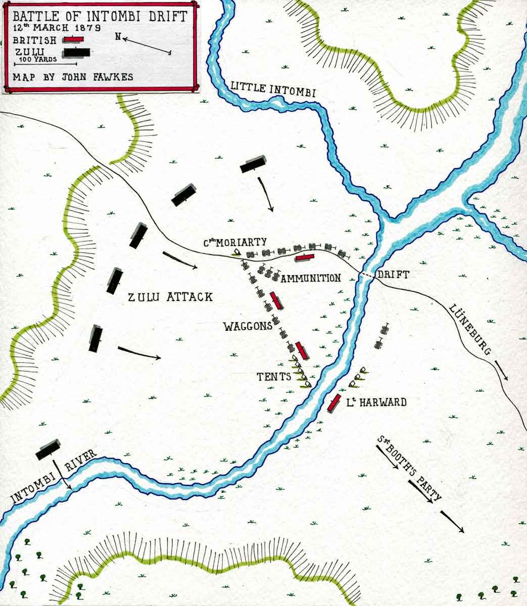 Map of the Intombi River Disaster on 12th March 1879 in the Zulu War: map by John Fawkes