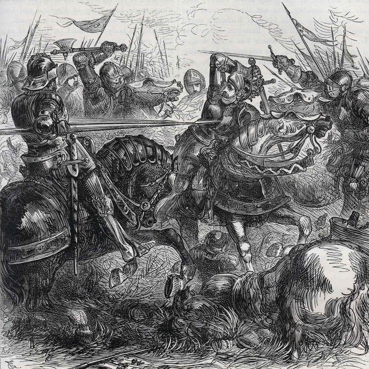 Death of King Richard III at the Battle of Bosworth Field on 22nd August 1485 in the Wars of the Roses