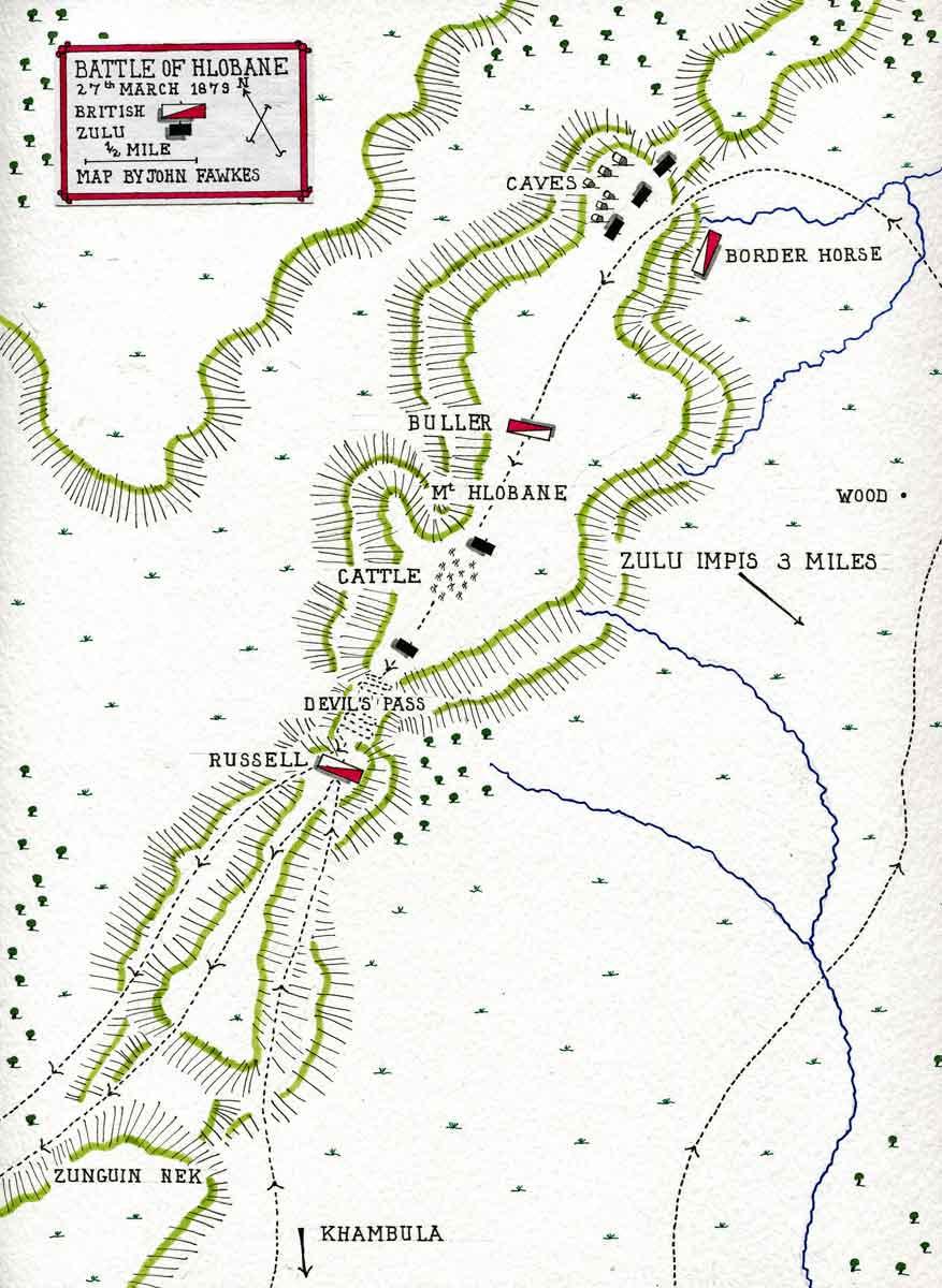 Map of Battle on Hlobane Mountain on 27th March 1879: Battle of Khambula on 29th March 1879 in the Zulu War: map by John Fawkes