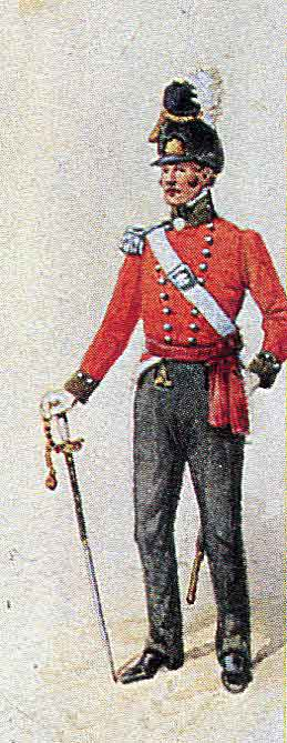 Grenadier Officer of the 5th (Northumberland) Regiment: Battle of El Bodon on 25th September 1811 in the Peninsular War: picture by Richard Simkin