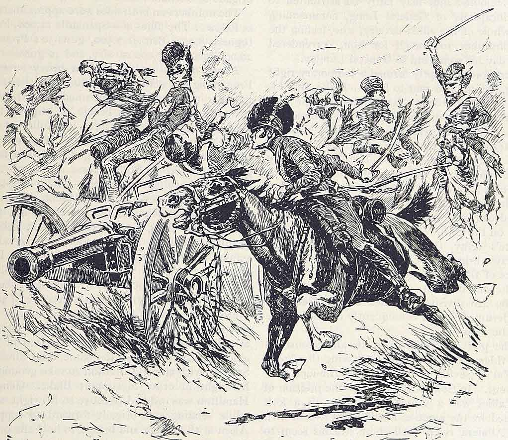 British 13th Light Dragoons capturing the French artillery at the Battle of Campo Maior on 25th March 1811 in the Peninsular War