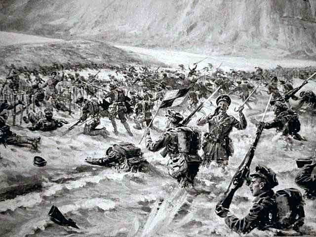 1st Lancashire Fusiliers landing on W Beach Cape Helles Gallipoli on 25th April 1915 winning 'six Victoria Crosses before breakfast'