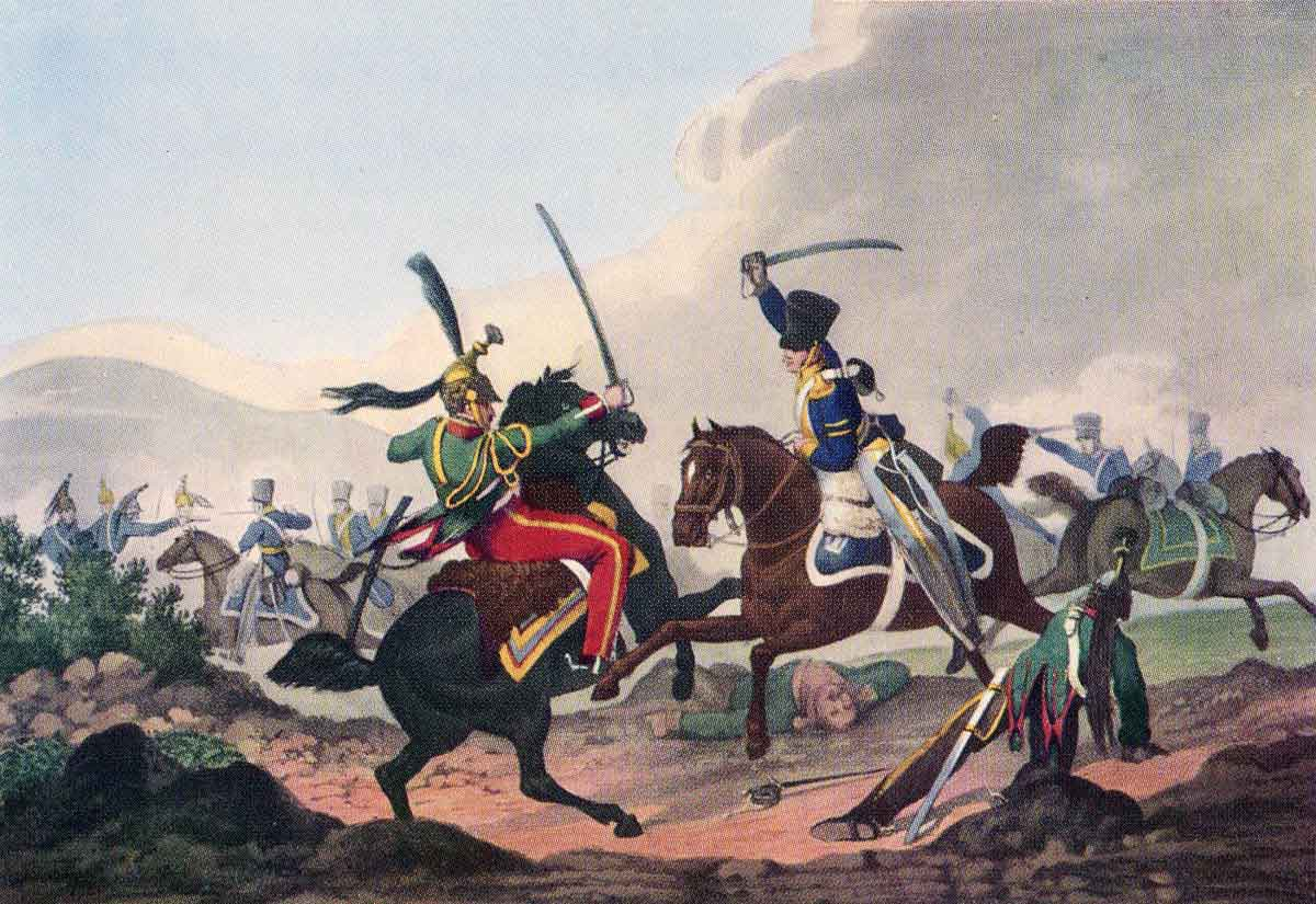 Corporal Logan engaging Count Chamorin at the Battle of Campo Maior on 25th March 1811 in the Peninsular War: the picture portrays Logan in the uniform introduced in 1812