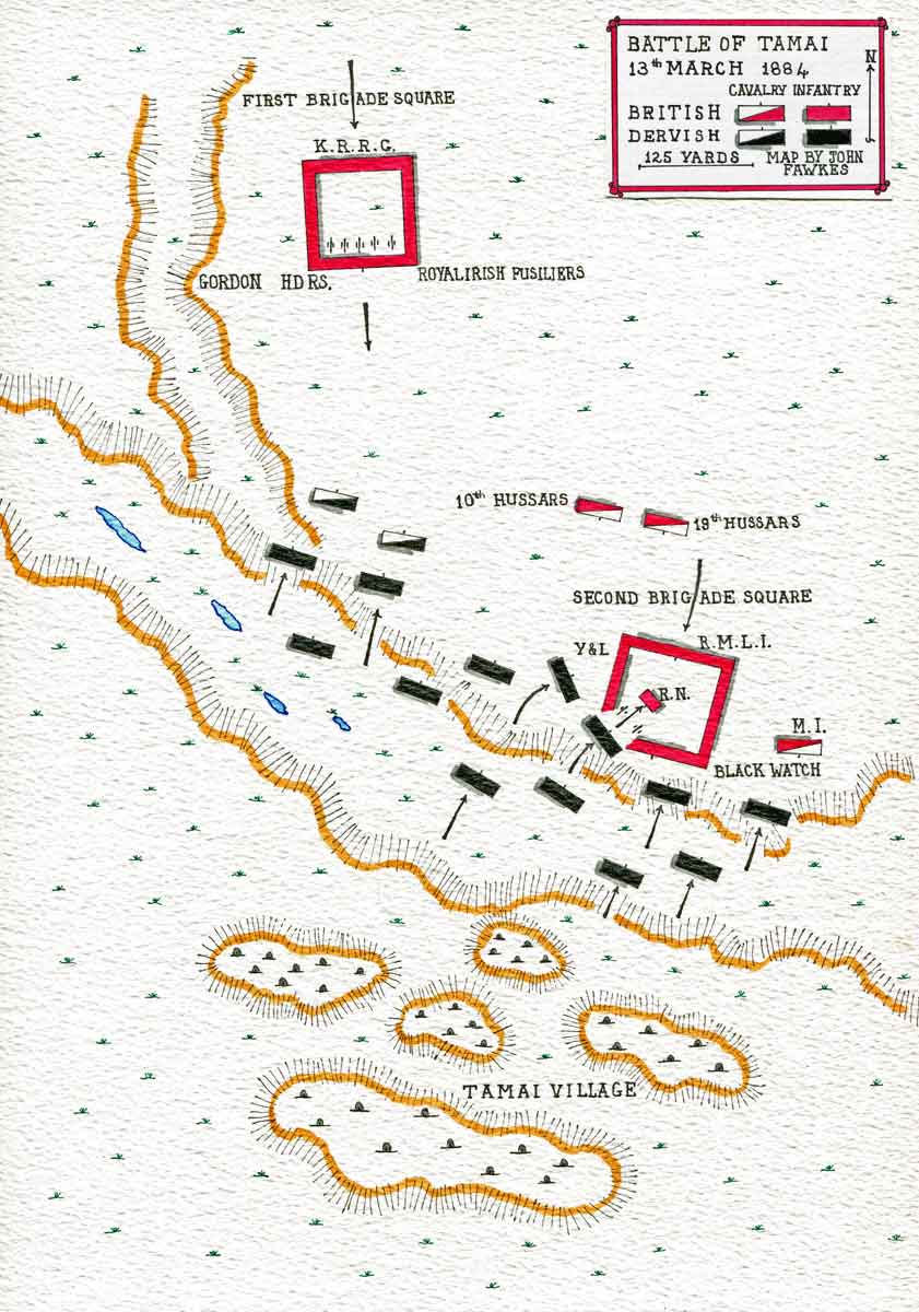 Map of the Battle of Tamai on 13th March 1884 in the Sudanese War: map by John Fawkes