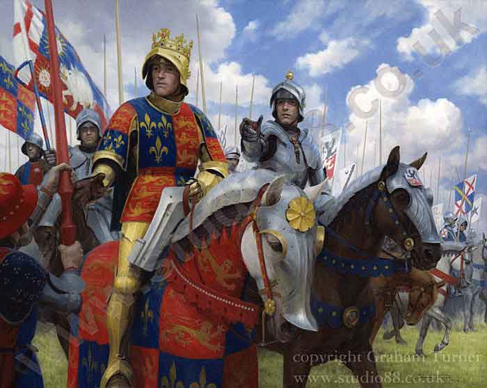 King Richard III at the Battle of Bosworth Field on 22nd August 1485 in the Wars of the Roses: picture by Graham Turner