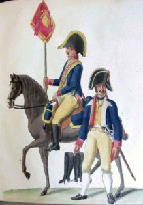 Standard Bearer and Trooper of Spanish Cavalry: Battle of Arroyo Molinos on 28th October 1811 in the Peninsular War: picture by Suhl
