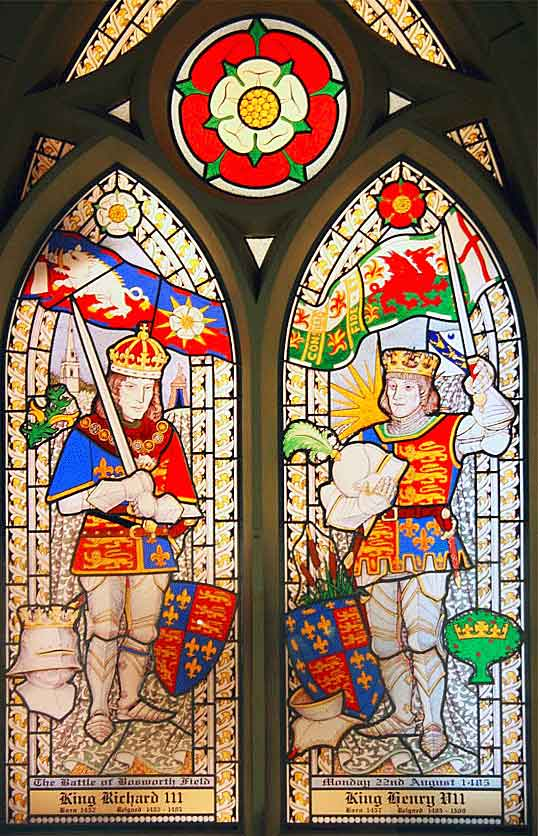 Stained glass window in Sutton Cheney Church showing King Richard III and King Henry VII: Battle of Bosworth Field on 22nd August 1485 in the Wars of the Roses