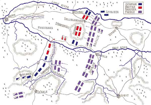 Map of the Battle of Vellinghausen on 15th July 1761 in the Seven Years War: map by John Fawkes