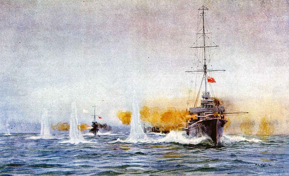 British light cruiser HMS Aurora begins the Battle of Dogger Bank at 7.15am on 24th January 1915 in the First World War opening fire on the German light cruiser SMS Kolberg: picture by Lionel Wyllie