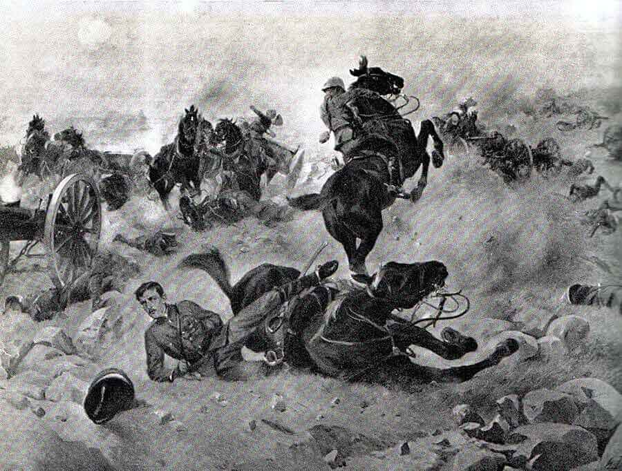 Roberts and Congreve hit by Boer fire while trying to rescue the Guns at the Battle of Colenso on 15th December 1899: picture by Henri-Louis Dupray