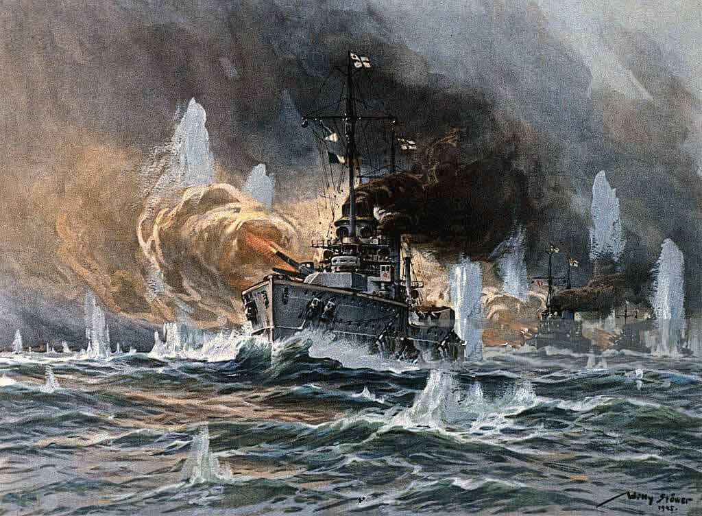 German Battle Cruisers in action at the Action off the Dogger Bank on 24th January 1915 in the First World War: picture by Willie Stoewer