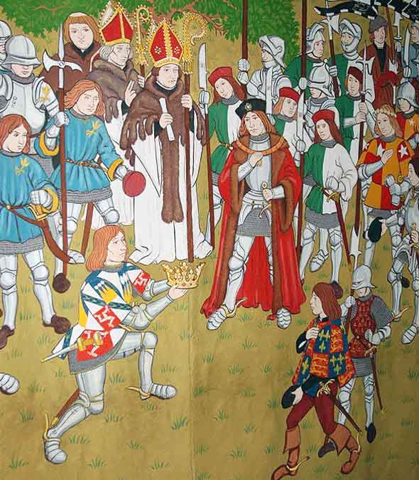 Lord Stanley presents King Richard III's crown to Henry Tudor after the Battle of Bosworth Field on 22nd August 1485 in the Wars of the Roses: 15th century tapestry