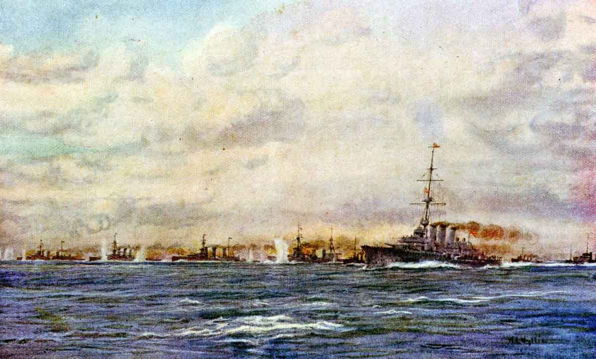 Admiral Beatty's force of battle cruisers, light cruisers and destroyers in pursuit of Admiral Hipper's German squadron on 24th January 1915 in the Battle of Dogger Bank Action in the First World War: picture by Lionel Wyllie