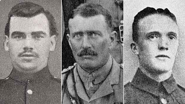 Private Kinealy Captain Bromley and Corporal Grimshaw 1st Lancashire Fusiliers won the Victoria Cross for their conduct in the landing on W Beach Cape Helles Gallipoli on 25th April 1915 (three of the 'six VCs before breakfast' won by the battalion)