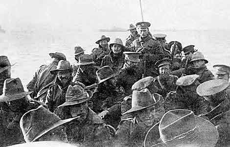 1st Australian Division Signal Company about to land at Anzac Cove on 25th April 1915: Gallipoli Part III, ANZAC landing on 25th April 1915 in the First World War