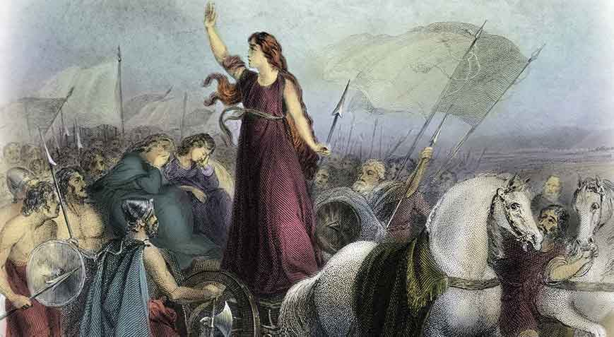 Boudicca's revolt against the Romans: Battle of Medway on 1st June 43 AD in the Roman Invasion of Britain