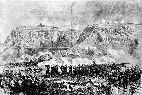 British and Indian troops in action at the Battle of Magdala on 13th April 1868 in the Abyssinian War