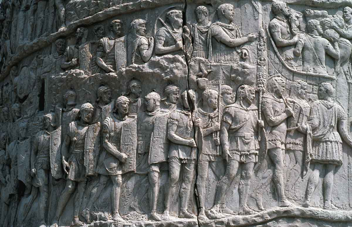 Roman legionaries on Trajan's Column: Battle of Medway on 1st June 43 AD in the Roman Invasion of Britain