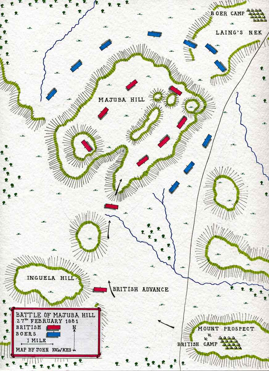 Map of the Battle of Majuba Hill on 27th February 1881 in the First Boer War: map by John Fawkes