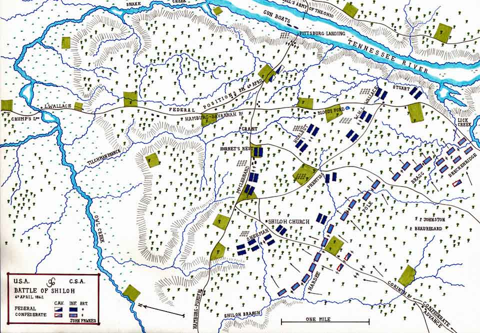 Map of the Battle of Shiloh on 6th and 7th April 1862 in the American Civil War: map by John Fawkes